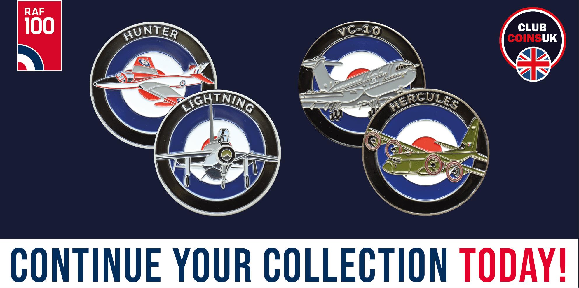 RAF100 Series- Club Coins UK - C130 Hercules - VC10 - Lightning - Hunter